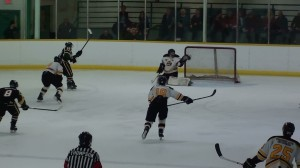 Cody Northover makes a breakawy save against a Mojacks player